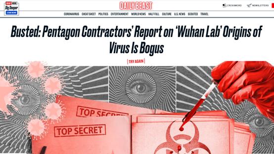 """Relatório de empresa do Pentágono sobre origens da COVID-19 é """"falso"""", diz mídia dos EUA"""