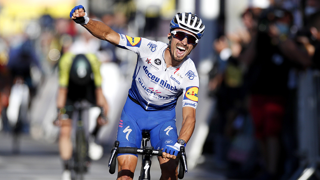 Tour De France Alaphilippe Claims Stage 2 Win Yellow Jersey Cgtn