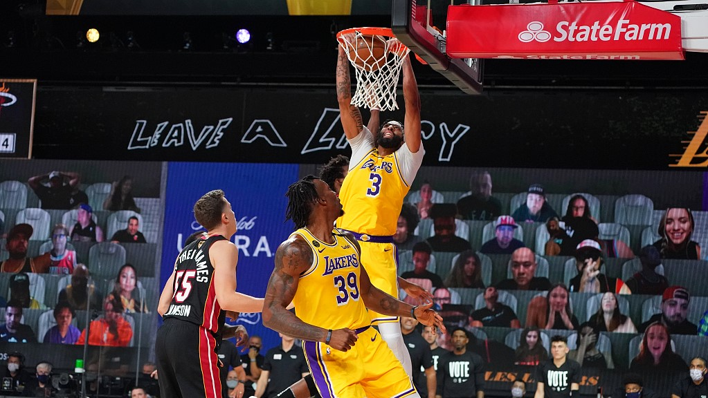 Nba Highlights On Sep 30 Lakers Davis Bullied Heat Adebayo In G1 Cgtn