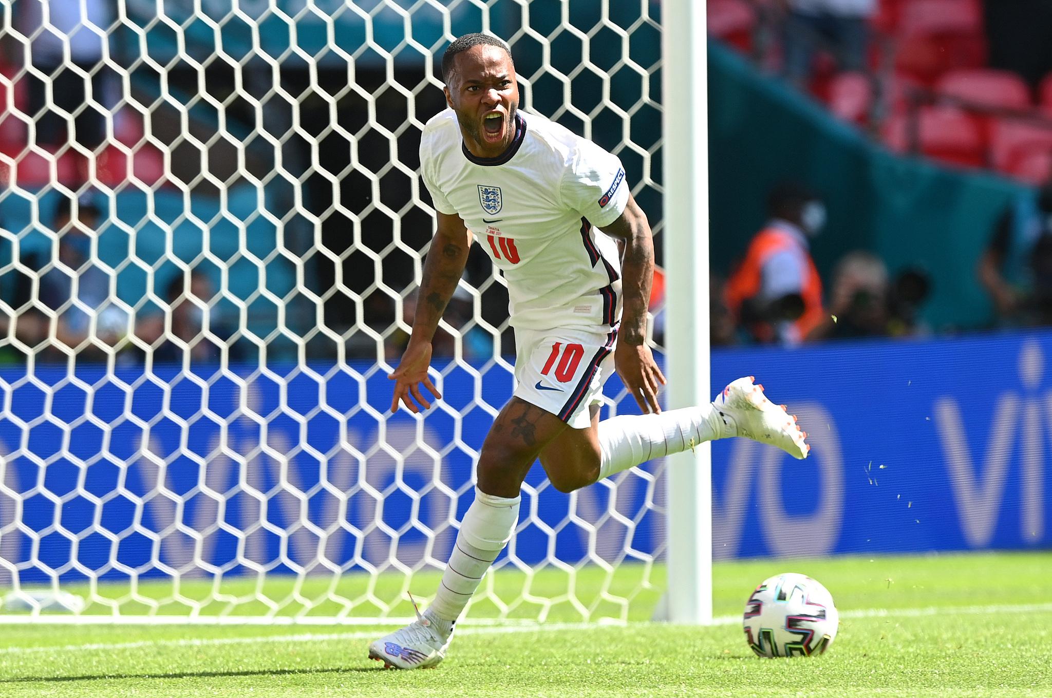 Sterling comemorando gol contra a Croácia na Euro 2020