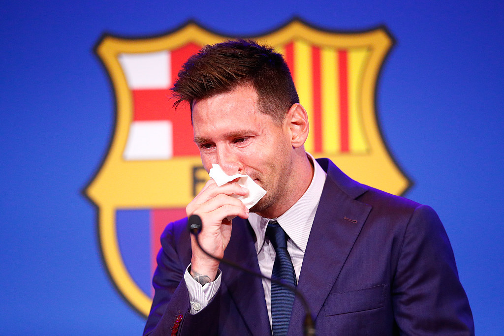 It's heartbreaking, but Lionel Messi says goodbye to Barca in tears - CGTN