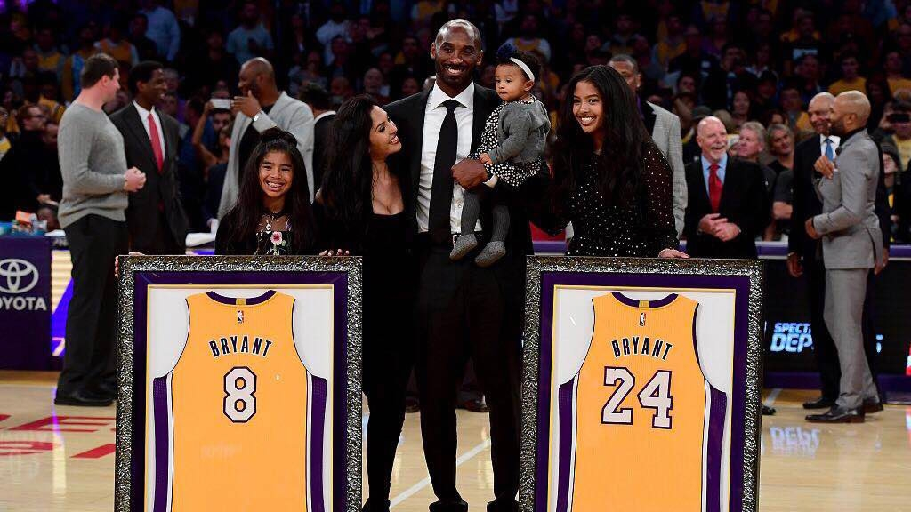 69e67099e The Los Angeles Lakers retired Kobe Bryant s No. 8 and No. 24 jerseys on  December 18 at the Staples Center in LA during the half-time break of the  game ...