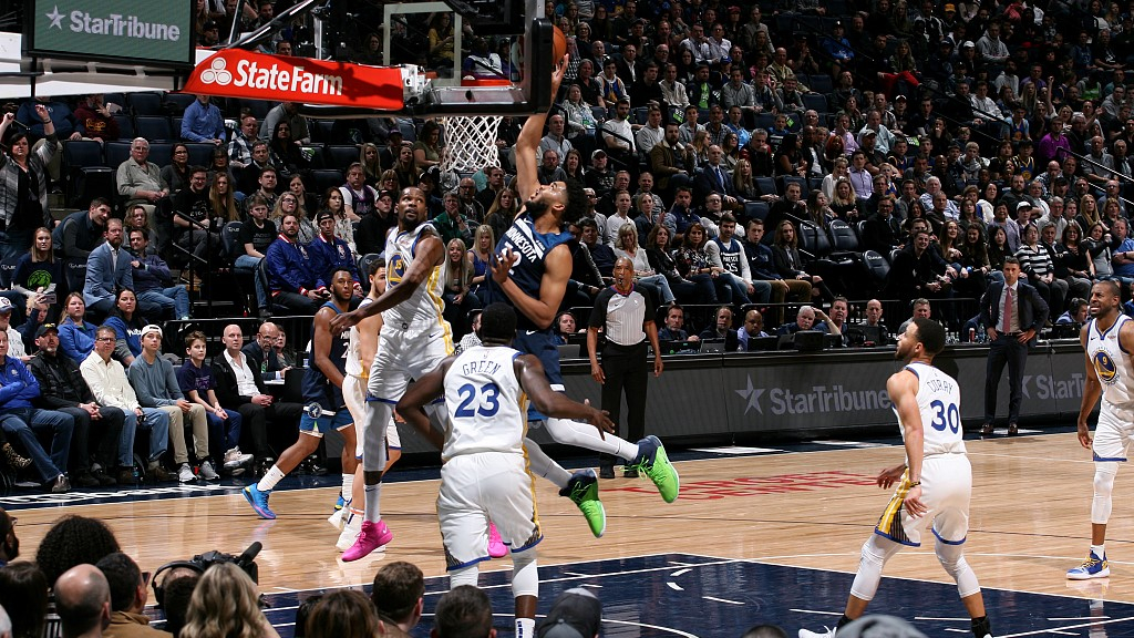 8fbd6fb33bdf Karl-Anthony Towns  32 of the Minnesota Timberwolves drives towards the rim  in the game they win against the Golden State Warriors 131-130 at the Target  ...