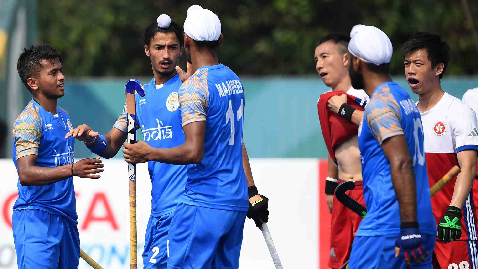 aeb3b6e21be India players celebrate after scoring a goal during the men s field hockey  pool A match with Hong Kong at the 2018 Asian Games in Jakarta