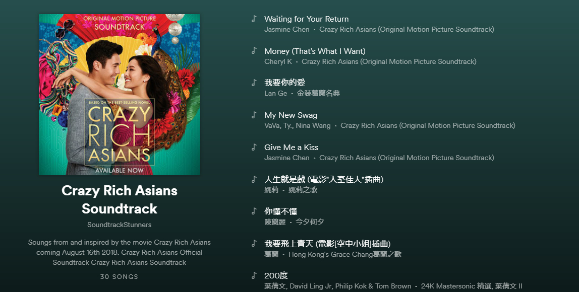 Image result for crazy rich asians soundtrack