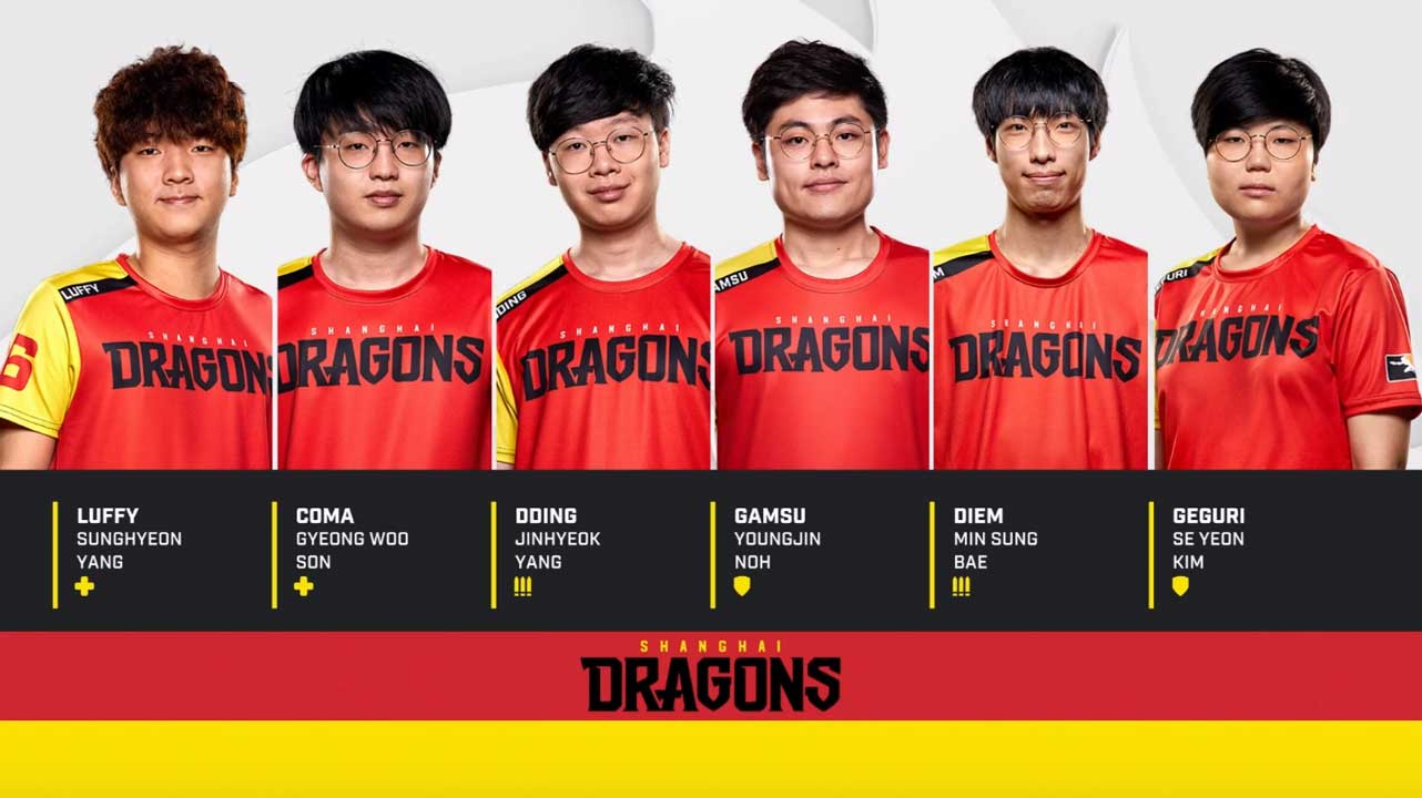 Shanghai Dragons line-up esports team