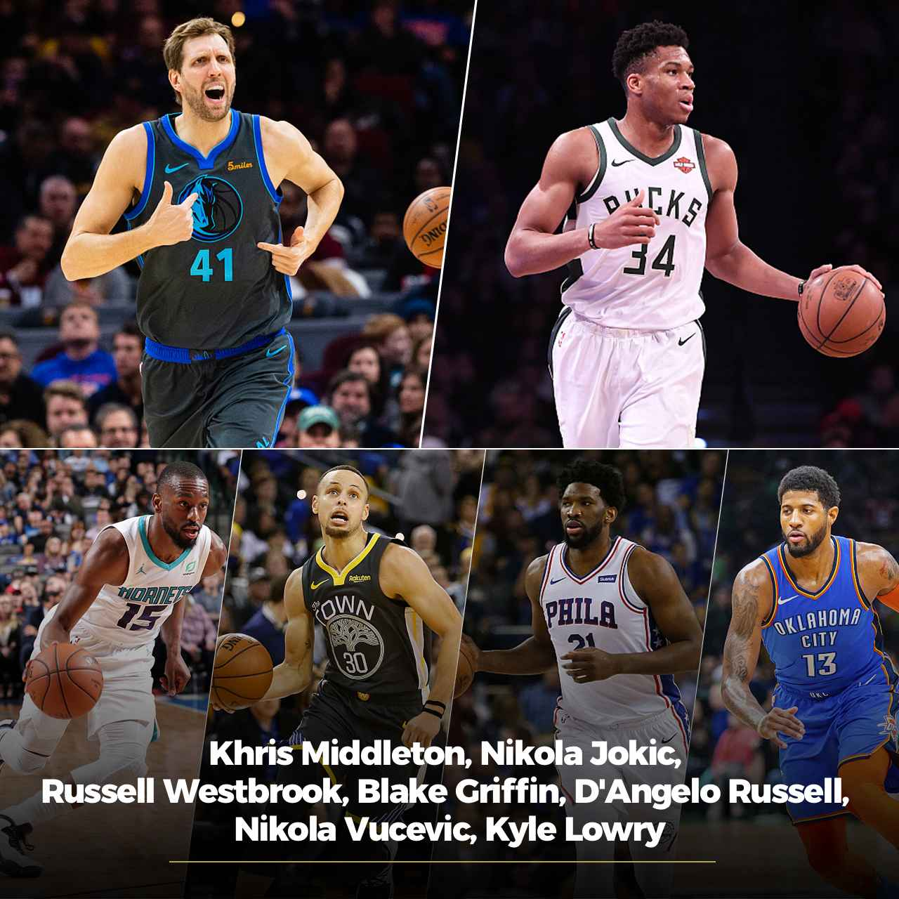 5ef134e34 Members of Team Giannis for the 2019 NBA All-Star Game  Dirk Nowitzki (Top  L1)