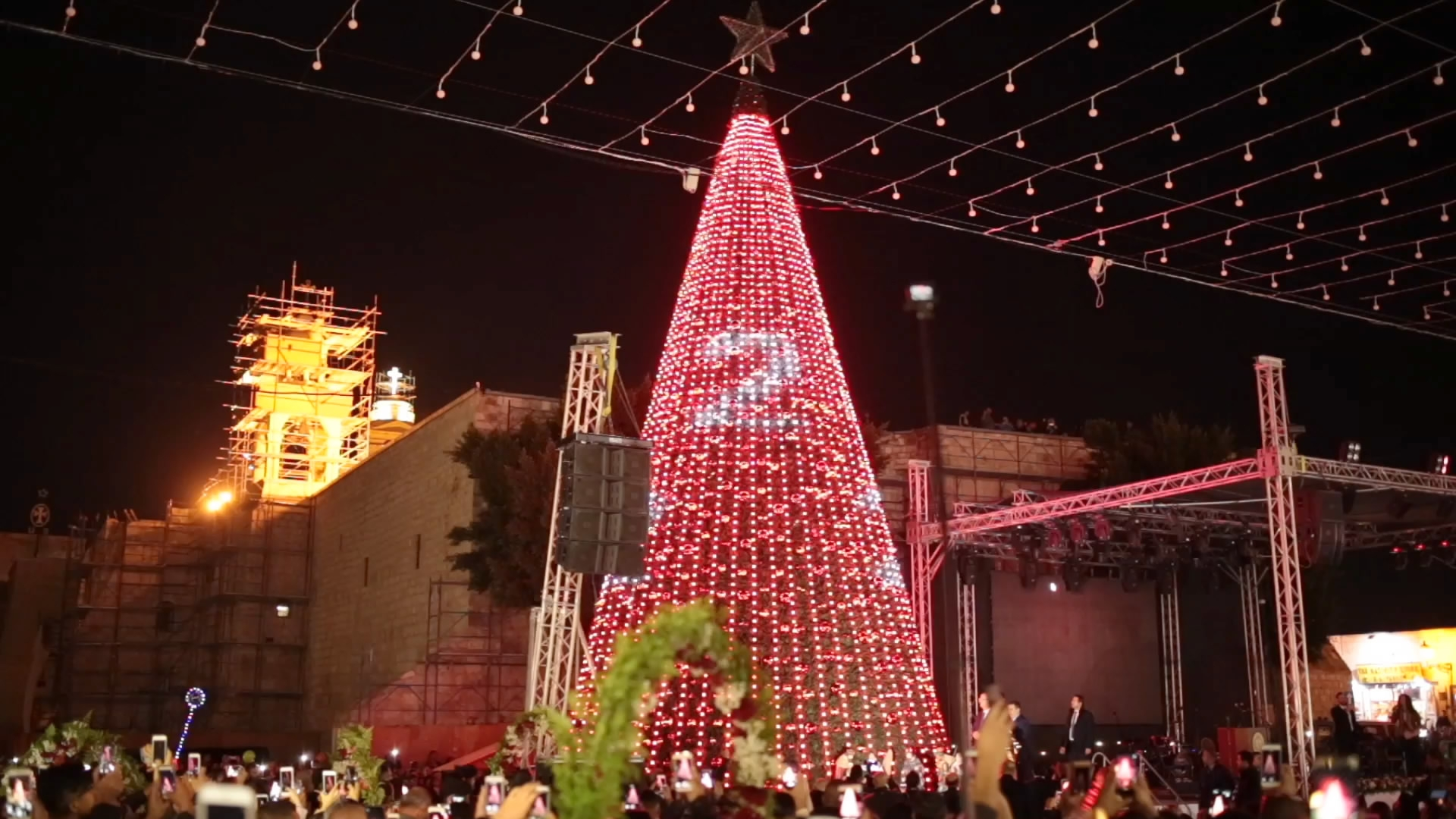 bethlehem lighting christmas trees. Bethlehem: Birthplace Of Christianity. \ Bethlehem Lighting Christmas Trees T