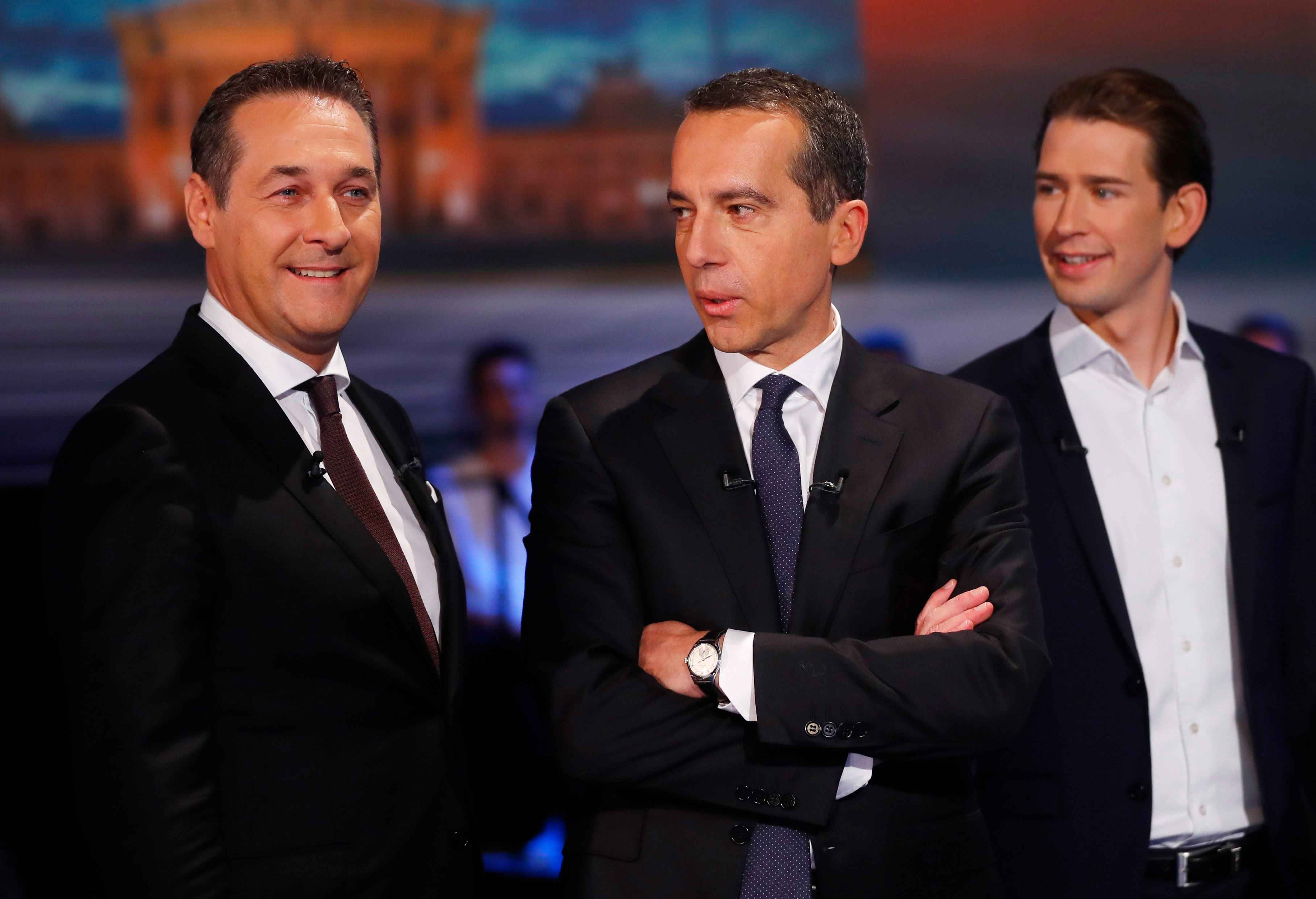 l r freedom party leader heinz christian strache social democrats leader christian kern and people s party leader sebastian kurz prepare for a tv debate